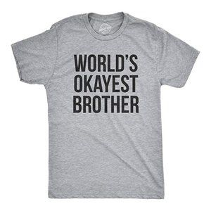 """""""World's Okayest Brother"""" Grey Mens Tee"""
